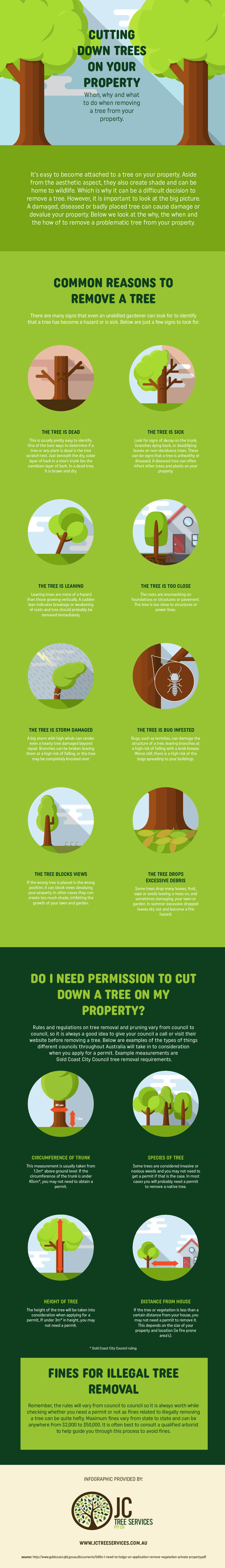Cutting down trees on your property infographic